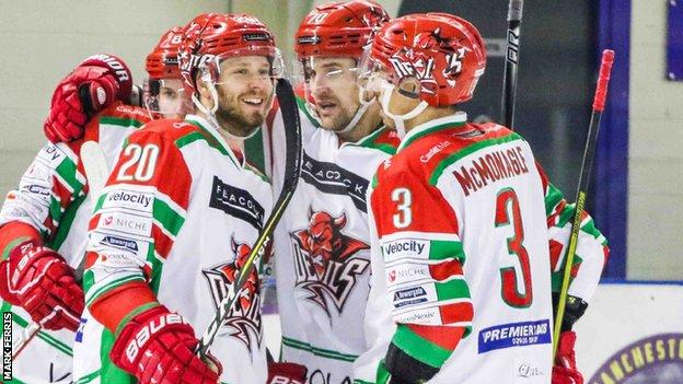 Cardiff Devils celebrate their opening goal
