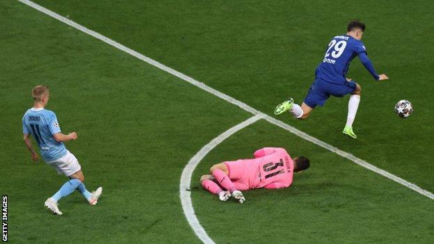 Kai Havertz runs through to score Chelsea's goal