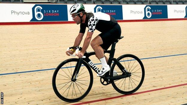 Britain's Mark Cavendish rides around the Lee Valley velodrome
