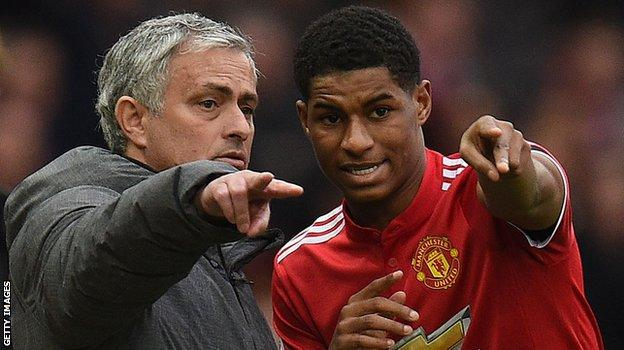 Manchester United manager Jose Mourinho and Marcus Rashford