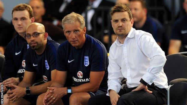 Michael Skubala and England futsal bench