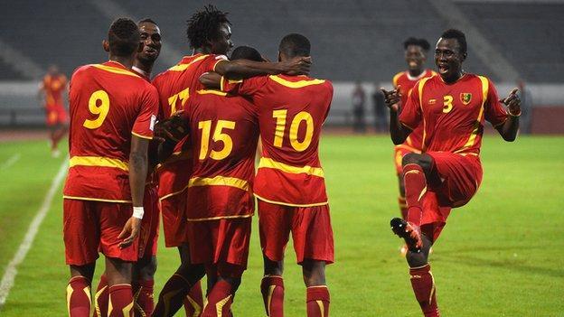 Guinea players celebrating