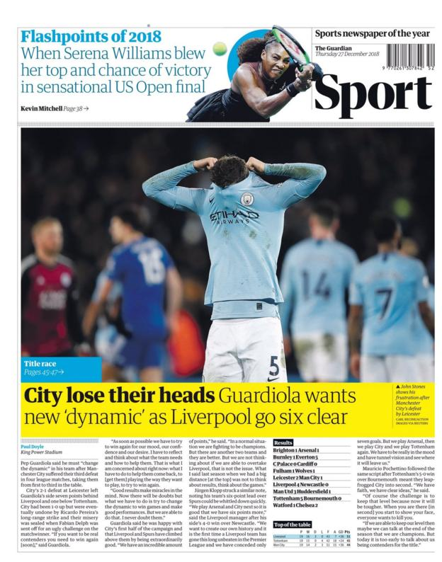 The front page of the Guardian sport section