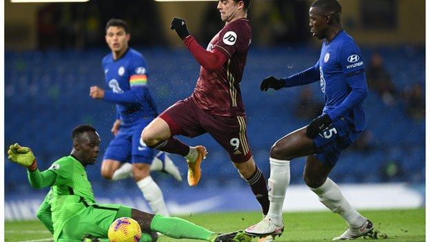 Patrick Bamford scores for Leeds against Chelsea at Stamford Bridge