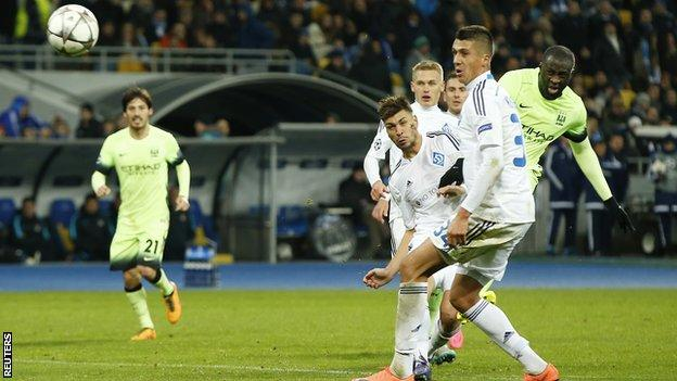 Yaya Toure ended a run of 730 minutes without a Champions League goal with his strike against Dynamo Kiev