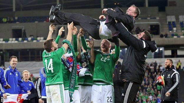 Michael O'Neill celebrates