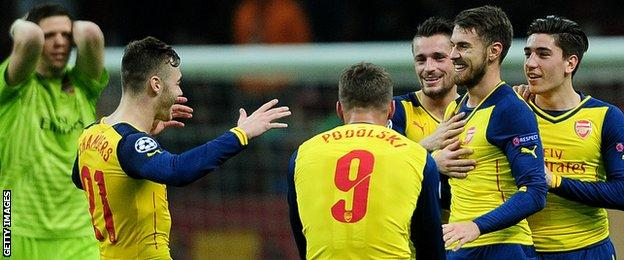 Aaron Ramsey is congratulated on his fabulous strike against Galatasaray