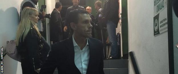Gus Poyet prepares to take charge of his first game as manager of AEK Athens