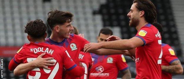 Blackburn Rovers celebrate Tyrhys Dolan's goal
