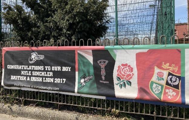 A banner outside Sinckler's junior club in Battersea