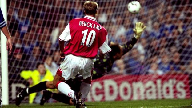 Dennis Bergkamp scores his hat-trick goal, in injury time, for Arsenal during a 4-3 win for Arsenal at Leicester in 1997