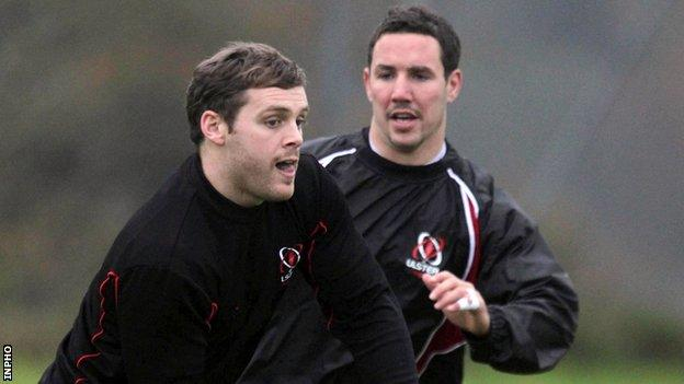 Darren Cave and Paddy Wallace in training with Ulster