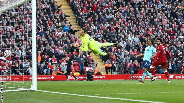 Mohamed Salah scores for Liverpool against Bournemouth