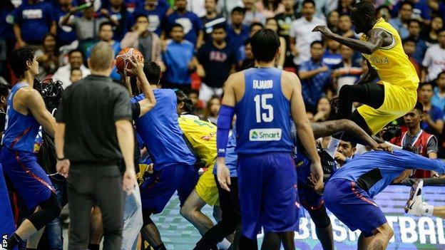 Players fight during the Philippines v Australia basketball match