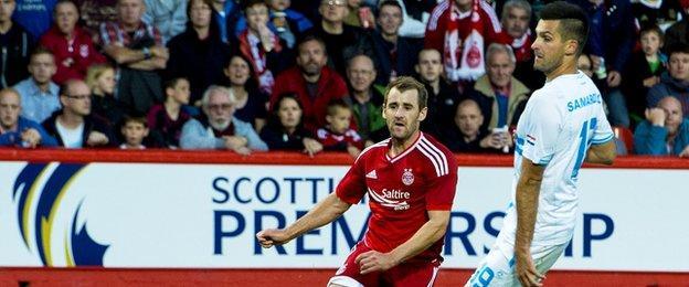Aberdeen forward Niall McGinn scores against Rijeka