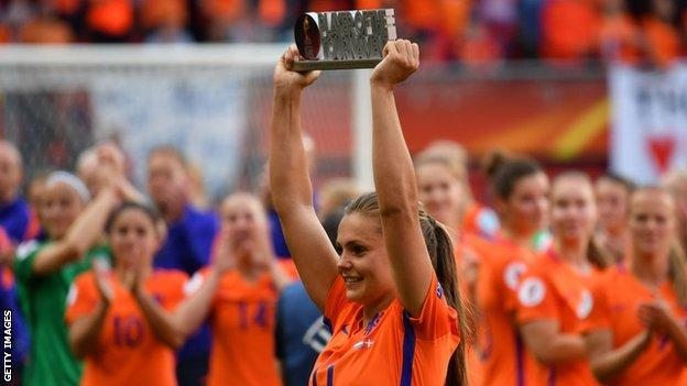 Lieke Martens with Euro 2017 player of the tournament