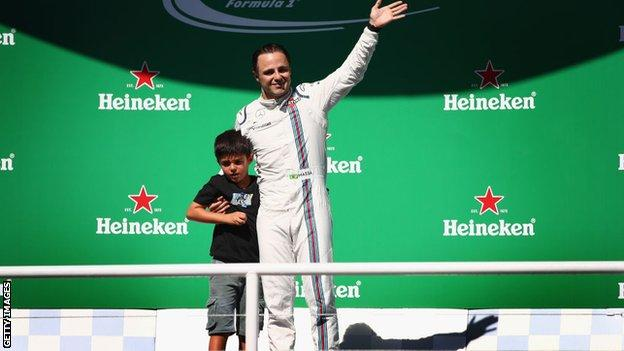 Williams F1 driver Felipe Massa and his son in Brazil