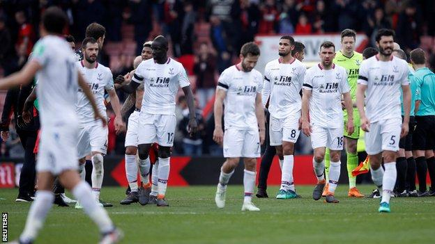 Crystal Palace's disappointed players walk off at Bournemouth