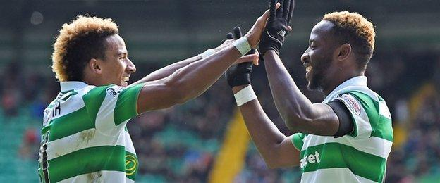 Celtic's Scott Sinclair and Moussa Dembele