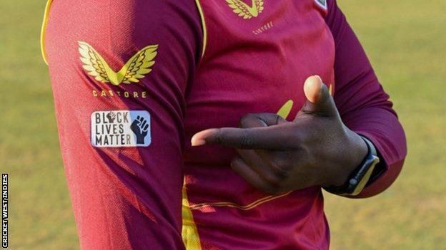 Black Lives Matter logo on West Indies shirt