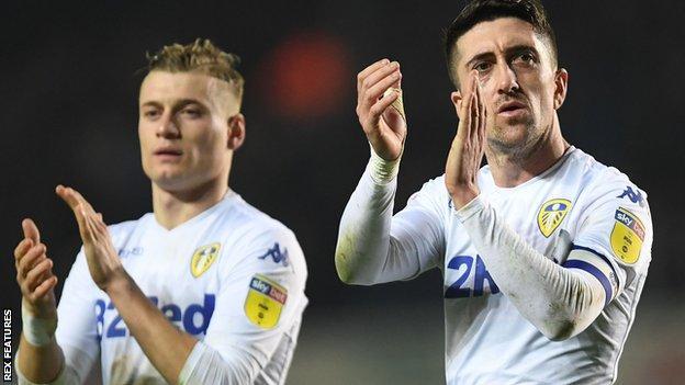 Ezgjan Alioski and Pablo Hernandez of Leeds United