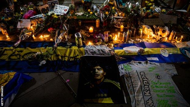 Candles are lit for Diego Maradona in Buenos Aires