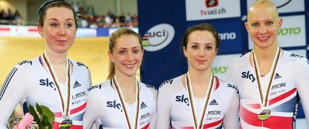 The Great Britain team of Katie Archibald, Laura Trott, Elinor Barker and Joanna Rowsell celebrate with the silver medals won in the Women's Team Pursuit at the UCI Track Cycling World Championships in Paris in February