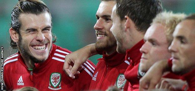 Gareth Bale with Wales team-mate Aaron Ramsey