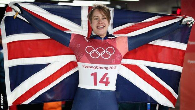 Lizzy Yarnold celebrates winning gold at Pyeongchang 2018