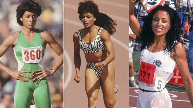 Three photos of Florence Griffith-Joyner in some of her most elaborate track outfits