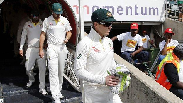 Tim Paine leads out Australia team