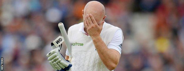 Adam Lyth reacts after his dismissal