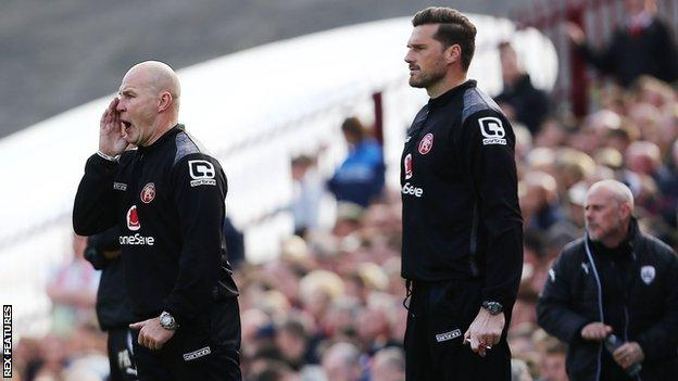 Interim boss Jon Whitney barks orders during Walsall's play-off semi-final first-leg defeat at Barnsley
