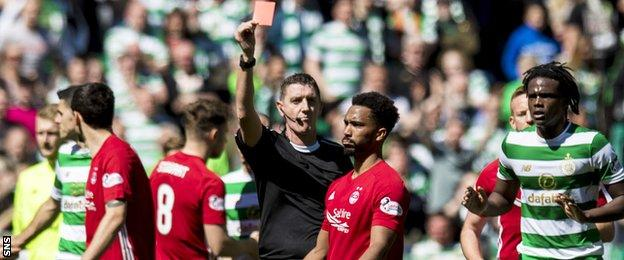 Shay Logan is sent off after the full-time whistle for over-celebrating Aberdeen's win over Celtic