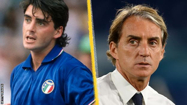 Roberto Mancini in 1988 (left) and 2021 (right)