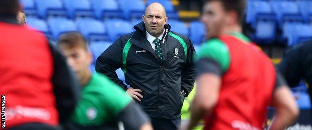 Tom Coventry oversees London Irish's warm-up before facing Bath