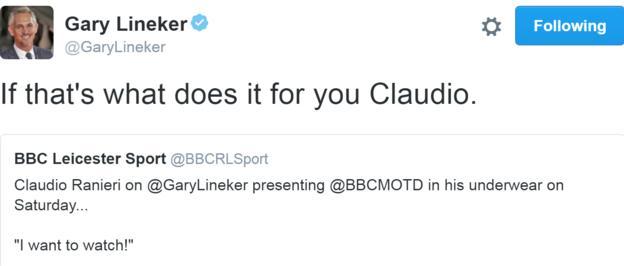 Gary Lineker's tweet