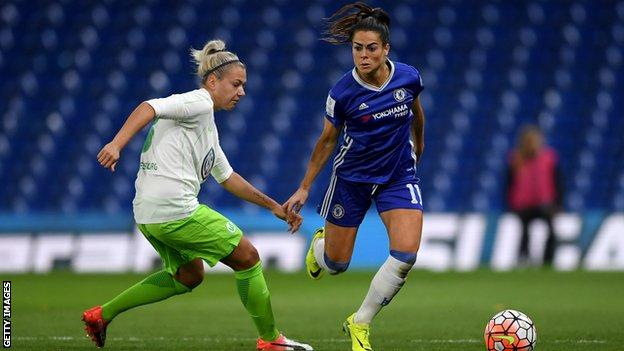 Chelsea full-back Claire Rafferty takes on Wolfsburg