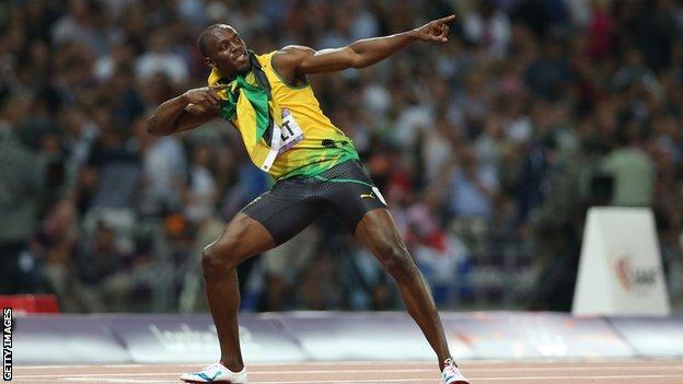 Usain Bolt celebrating at London 2012