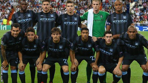 The Manchester City team that led Real Madrid 2-1 with three minutes to go at the Bernabeu in September 2012