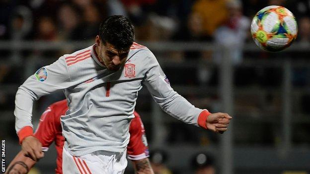 Alvaro Morata scores Spain's second against Malta
