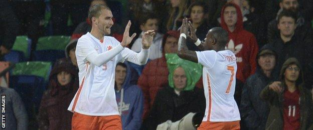 Newcastle defender Darryl Janmaat provided the cross for Netherlands first goal