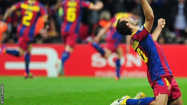 Javier Mascherano celebrates a Barcelona goal during the 2011 Champions League final