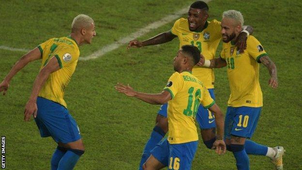 Brazil celebrate a goal