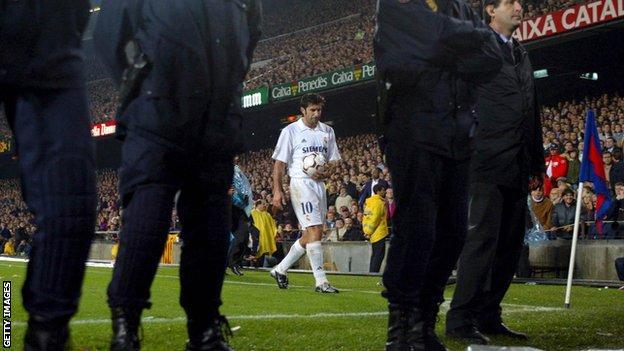 Figo takes a corner at Camp Nou