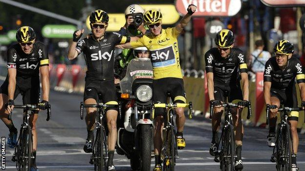 Team Sky crossed the finish line in Paris in triumph after helping Chris Froome reclaim the Tour de France title he first won in 2013