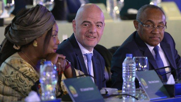 Fifa Secretary General Fatma Samoura (left), Fifa President Gianni Infantino (centre) and Confederation of African Football President Ahmad Ahmad (right).