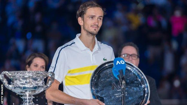 Daniil Medvedev with the runner-up trophy