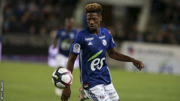Cape Verde's Nuno da Costa in action for Strasbourg