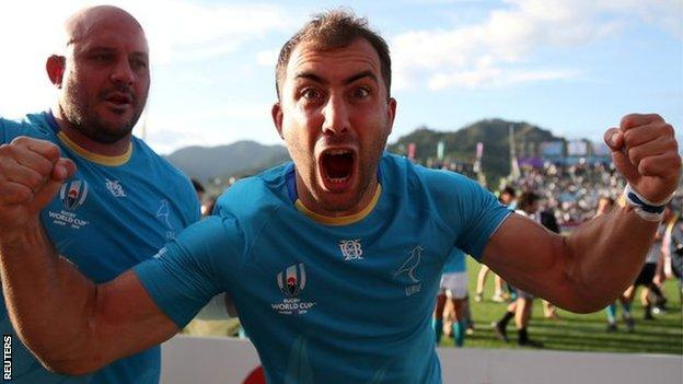 Uruguay's Gaston Mieres and Juan Rombys celebrate victory
